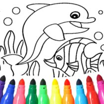 Dolphin and fish coloring book  16.3.2